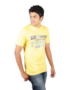 Canopus Mens Yellow Printed T-Shirt