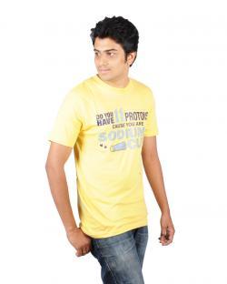 Canopus Mens Yellow Printed T-Shirt