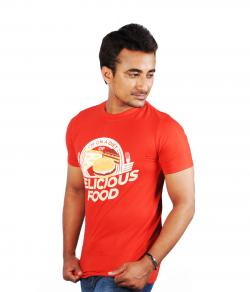 Yepvi Men Red(Delicious Food) Printed T-Shirt