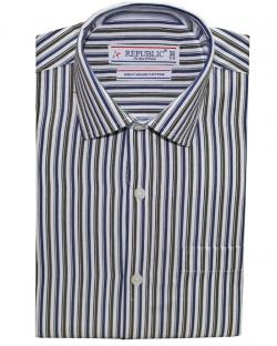 Republic Blue & Green Striped Shirt