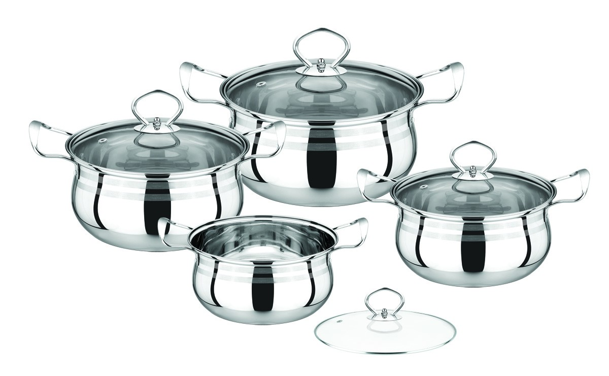 Idea Stainless Steel Cookware Set 8 Pcs Silver