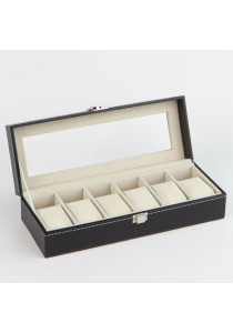 PU Leather Watch Box Premium Quality Glass Top (6 slots)