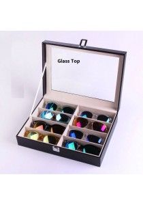 Spectacles Watch Sun Glasses Display Box PU Glass Top