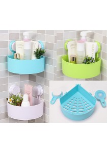 Suction Bathroom Toilet Kitchen Corner Rack Shelf Storage Organizer (Blue)