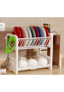 Dish Drainer 2 Layer Washing Plates  Rack with Knife Board 2 Water Tray