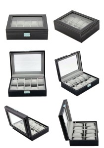 High Grade PU Leather Watch Box 10 Slots Glass Top Lock Type