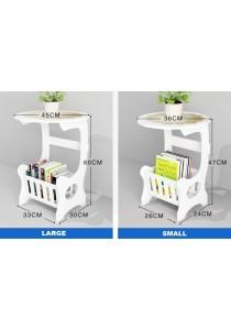 Acrylic Side Coffee Table Photo  Book Magazine Flower Organizer Storage (Large)