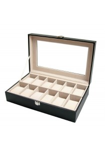 PU Leather Watch Box Premium Quality Glass Top (12 slots)