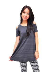 ViQ Shoulder Cut-off Blouse (Grey)