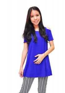 ViQ Shoulder Cut-off Blouse (Royal Blue)