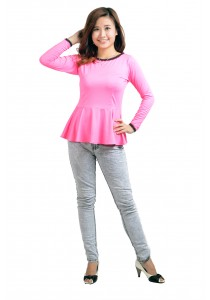 ViQ Long Sleeve Peplum Top (Pink)