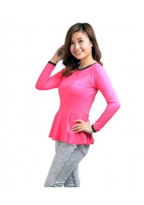 ViQ Long Sleeve Peplum Top (Rose)