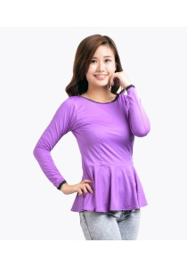 ViQ Long Sleeve Peplum Top (Purple)