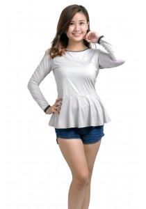 ViQ Long Sleeve Peplum Top (Light Grey)