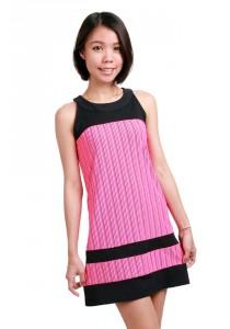 ViQ Striped Shift Dress (Pink Stripe)