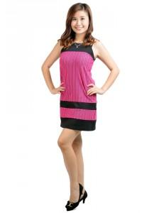 ViQ Striped Shift Dress (Purple Stripe)