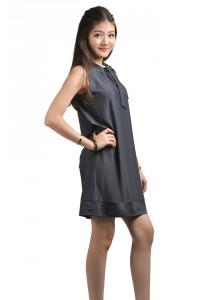 ViQ Bow Neck Agogo Dress (Grey)