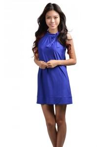 ViQ Bow Neck Agogo Dress (Royal Blue)