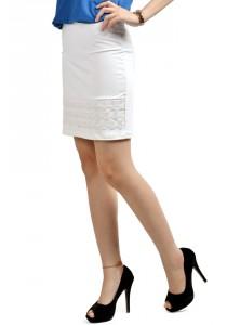 ViQ Lace Working Tight Skirt (White)