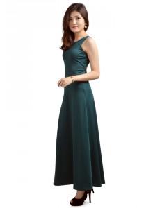 ViQ Bare Back Maxi Dress (Dark Green)