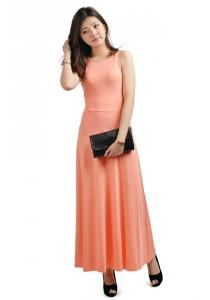ViQ Bare Back Maxi Dress (Peach)