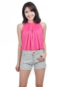 ViQ Pleated Crop Top (Pink)
