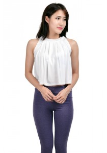 ViQ Pleated Crop Top (White)