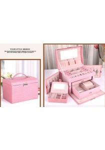 Jewellery Box Jewelry Storage Box Large 3 Layers Side Open (Pink)