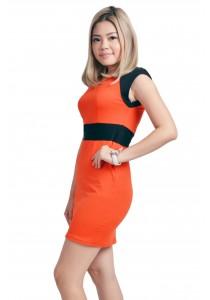 ViQ Office Wrap Dress (Orange)