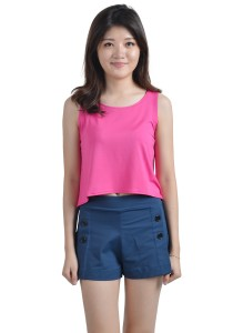 ViQ Loose Fit Cropped Singlet (Pink)