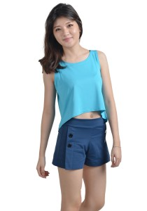 ViQ Loose Fit Cropped Singlet (Light Blue)