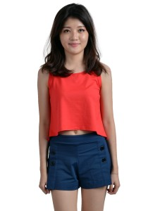 ViQ Loose Fit Cropped Singlet (Red)