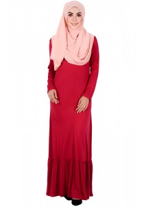 MyTrend BEA  Zip-Front Maxi Dress (Deep Red)