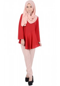 MyTrend Bella Flared Panel Blouse (Mara Red)