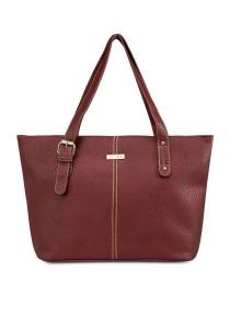 Unisa Vintage Contrast Stitching Ladies Tote Bag (Maroon)