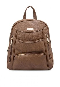 Unisa Vintage Contrast Stitching Ladies Backpack (Brown)