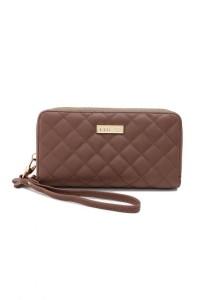 Unisa Quilted Design Ladies Double Zip-Up Clutch Wallet (Khaki)