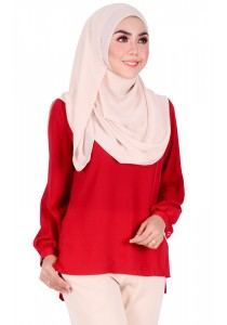 MyTrend Belva Bubble Sleeve Blouse (Deep Red)