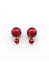 Red Pearl Bauble Earrings
