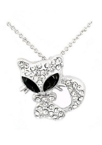 OUXI Big Eye Kitty Necklace (Black)