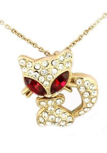 OUXI Big Eye Kitty Necklace (Red)