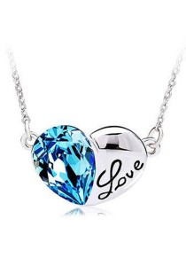 OUXI Titanic Crystal Heart Necklace (Ocean Blue)