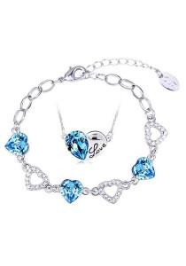 OUXI Titanic Love Necklace Bracelet Set (Aquamarine)