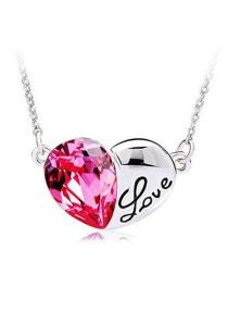 OUXI Titanic Crystal Heart Necklace (Rose)