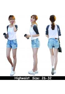 WAORDER Korean Elastic Highwaisted Denim Short Pants - Light Blue 1010