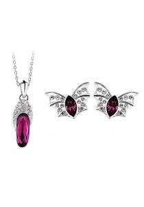 OUXI Glass Shoe Elf Necklace Earrings Set