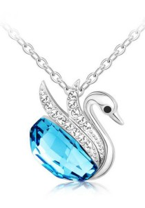 OUXI Beloved Swan Necklace (Ocean Blue)