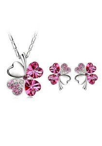 OUXI Four Leaf Clover Necklace Earrings Set (Rose)