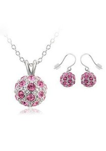 OUXI Happiness Necklace Earrings Set (Rose)