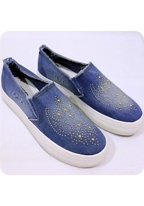 Unique Pattern Jeans Canvas Shoes - Light Blue